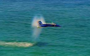 Картинка море, полет, insignia, США, United States, sea, yellow, blue, flight, wings, пилотажная группа, Hornet, F-18, …
