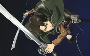 Картинка плащ, клинки, art, военная форма, Shingeki no Kyojin, привод, Вторжение Гигантов, Levi Ackerman, разведкорпус, Hajime …
