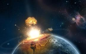 Обои планета, катастрофа, Взрыв
