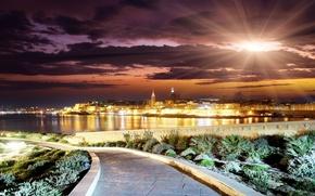 Картинка солнце, облака, пейзаж, закат, город, здания, вечер, горизонт, дорожка, road, landscape, clouds, beauty, scenery, season, …