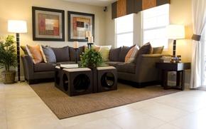 Картинка листья, уют, стол, фон, комната, диван, обои, растение, лампа, интерьер, подушки, простор, wallpaper, квартира, широкоформатные, …