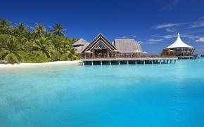 Картинка курорт, island, water, океан, baros maldives resort, Мальдивы, экзотика