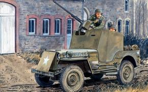 Картинка джип, арт, WW2, солдаты, дорога, улица, рисунок, американский, защита, «Виллис», с пулемётом М2