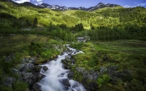 Картинка деревья, горы, ручей, поля, деревня, Норвегия, хижины, Norway, Hardangervidda, Одда, Odda, Hardanger, Хардангер, Хардангервидда