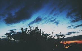 Картинка облака, синий, контраст
