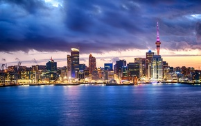 Картинка небо, облака, огни, побережье, дома, бухта, Новая Зеландия, залив, Auckland