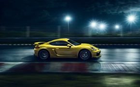 Картинка Porsche, Cayman, Speed, Yellow, Side, Supercar, Track, GT4, 2015, Ligth, Nigth