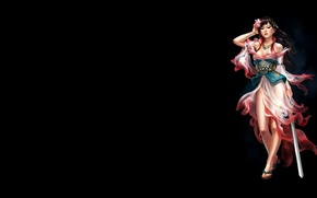 Картинка цветок, девушка, темный фон, минимализм, меч, арт