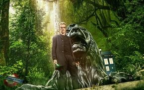 Картинка зелень, лес, взгляд, деревья, актер, мужчина, Doctor Who, Доктор Кто, Peter Capaldi, Питер Капальди, Двенадцатый …