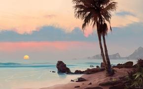Картинка море, закат, пальма, камни, арт