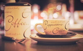 Картинка надписи, стол, тарелка, ложка, чашка, блюдце, боке, coffee, cappuccino, сахарница