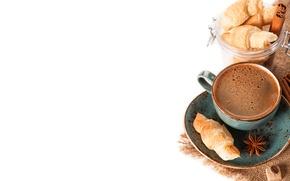 Картинка пенка, кружка, напиток, кофе, сахар, блюдце, круассаны, корица