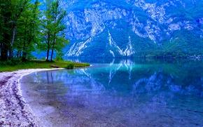 Картинка деревья, горы, озеро, склон