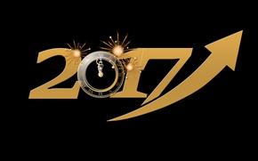 Обои полночь, черный, черный фон, время, 2017, новый год, устремленность, направление, часы, золотистый, новый 2017 год, ...