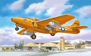 Обои самолет, истребитель, арт, ВВС, реактивный, двигатели, первый, США., нем, использовались, Дженерал-Электрик, J31-GE-3, турбореактивные, P-59A-B