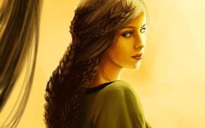 Картинка Девушка, Взгляд, Рисованные, Плетёная коса