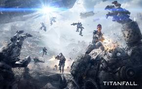 Картинка девушка, тучи, оружие, война, корабли, луч, роботы, выстрел, солдаты, пушка, битва, Electronic Arts, Titanfall, Respawn …