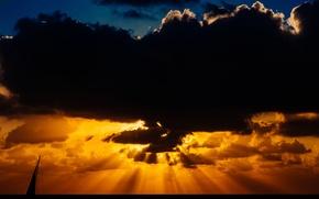 Картинка небо, облака, горизонт, парус, лучи солнца