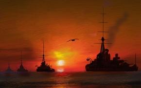 Картинка море, небо, корабли, живопись, дредноуты