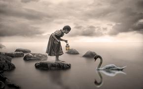 Обои лебедь, озеро, девочка