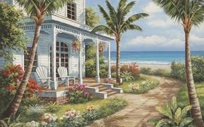 Картинка море, дом, пальмы, картина, живопись, painting, Sung Kim