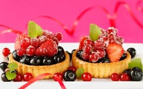 Картинка пирожные, голубика, десерт, тарталетки, сладкое, черника, ягоды, смородина, клубника
