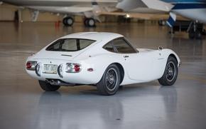 Картинка белый, ангар, white, sportcar, japan, 1967, 2000GT, TOYOTA
