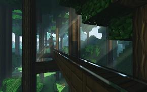 Картинка дорога, лес, трава, лучи, табличка, листва, рельсы, Minecraft