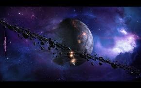 Картинка обломки, планета, астероиды, звездолет