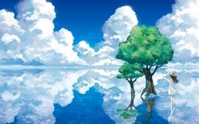 Картинка вода, облака, деревья, пейзаж, озеро, отражение, шляпа, арт, девочка, бумажный самолетик