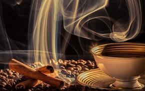 Обои зёрна, кофе, чашка, корица