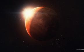 Картинка солнце, космос, звезды, рендеринг, планета, марс