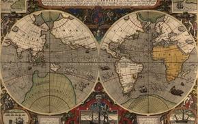 Обои мир, карта, старая карта, лепра