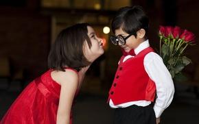 Обои любовь, дети, детство, ретро, романтика, очки, девочка, love, красивая, День святого Валентина, retro, beautiful, смешно, ...