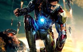 Обои tony stark, железный человек 3, iron man 3, тони старк, супергерой, взрыв
