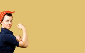 Обои девушка, плакат, жест, Клепальщица Рози, rosie the riveter, We can do it!