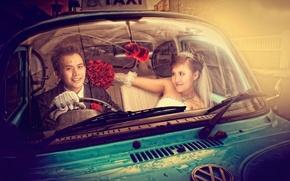 Картинка невеста, жених, такси