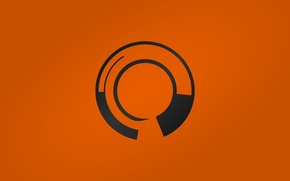 Обои logo, black, orange