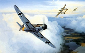Картинка ART, painting, aviation, WW2, bf 109, WAR