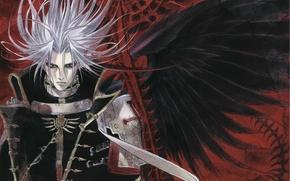 Картинка избранный, черные крылья, злобный взгляд, растрепанные волосы, Trinity Blood, черный рыцарь, черная магия, Abel Nightroad, …