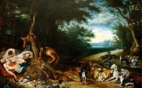 Обои Сатиры и Спящие нимфы, картина, Ян Брейгель младший, мифология
