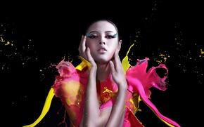 Картинка девушка, стиль, краски
