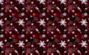 Обои снежинки, фон, текстура, шарики
