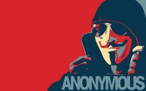 Обои стиль, anonymous, копюшон, аноним, очки, анонимус