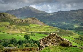 Обои камни, горы, поле, надел, шотландия, облака