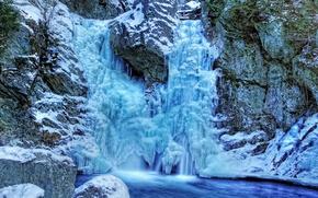 Картинка холод, зима, замёрзший водопад