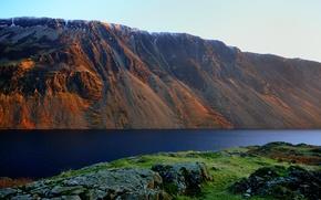 Картинка закат, горы, озеро, камни