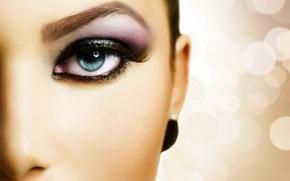 Картинка девушка, лицо, глаз, ресницы, половина, макияж, зрачок, тени, бровь