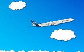 Обои самолет, облака, a340, минимализм