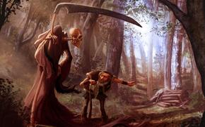 Обои старик, смерть, лес